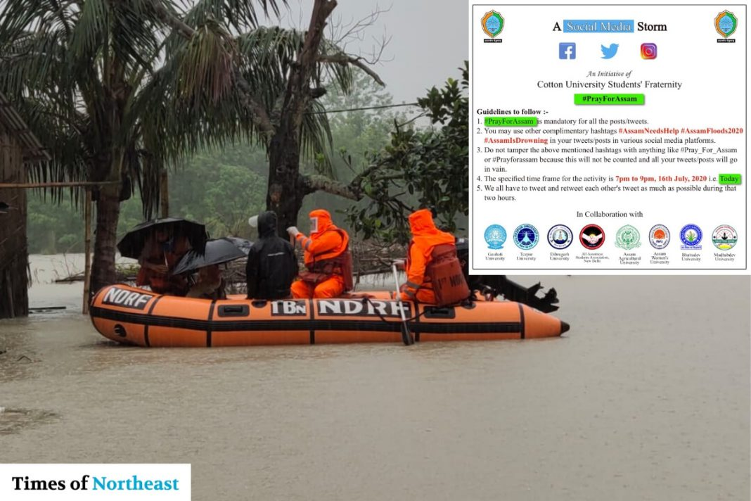NDRF-rescuing-in-Assam-Floods-with-Poster-for-Social-Media-Storm-PrayforAssam